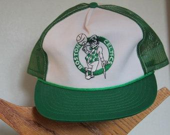 4493ca41 New Old Stock 1980-90's Boston Celtics Snapback Hat, Vintage Boston Celtics  Baseball Hat, White and Green Baseball hat, Embroidered emblem