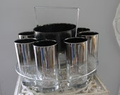 Vintage Set of 8 OMBRE Mercury Fade Glasses, Ice Bucket and chrome caddy,Mercury Fade Highball Tumbler Glasses, MCM Mercury Fade Bar set