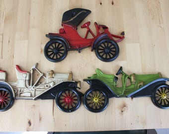 Set of 3 Vintage Metal Automobiles Wall Decor Classic Car wall plaques antique automobile wall art Midwest cast metal car plaques & Vintage car wall art | Etsy