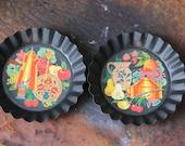 NOS Vintage PA Dutch Folk Art Tole ware Trays, Coffee Pot, Tea kettle Coffee Grinder set ,Amish Mini Tin Wall Plates, YORKCRAFT Inc