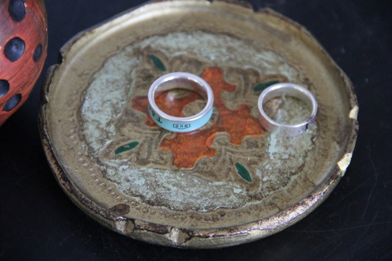 Italy Cream Orange and Gold Florentine RingJewelry tray Lovely Vintage Florentine ring tray made in Italy Vintage ORNATE Round ring dish