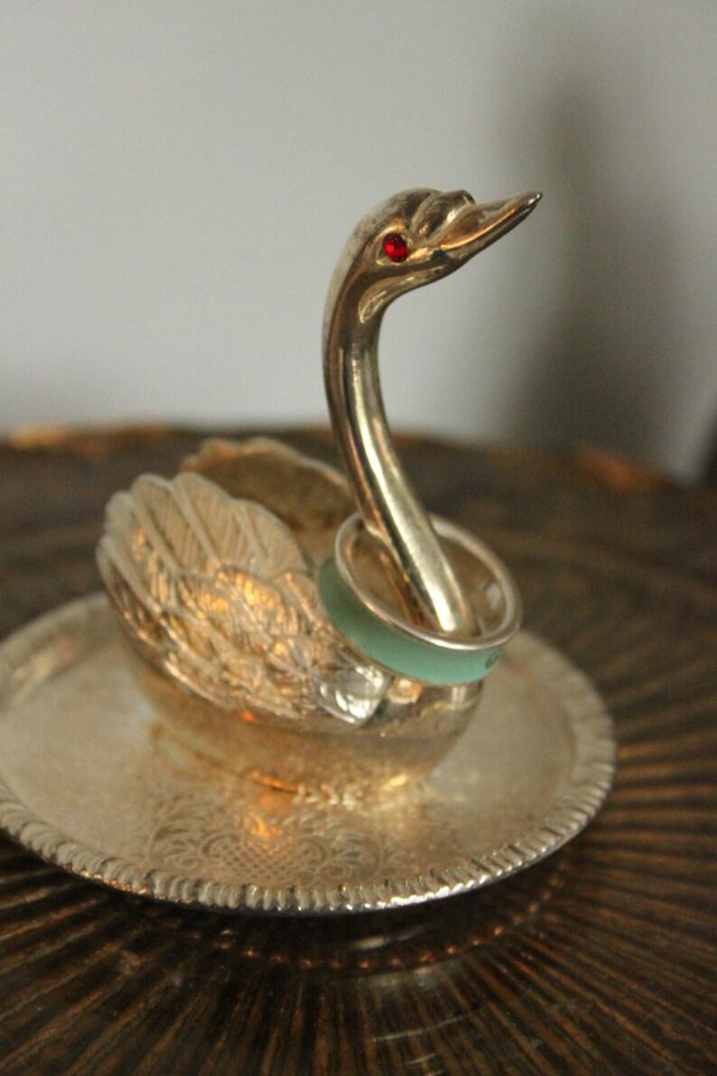 vintage engagement gift vintage Swan ring holder,RED eyes,Vintage Ring holder Silver SWAN Ring Holder swan gift vintage swan ring holder