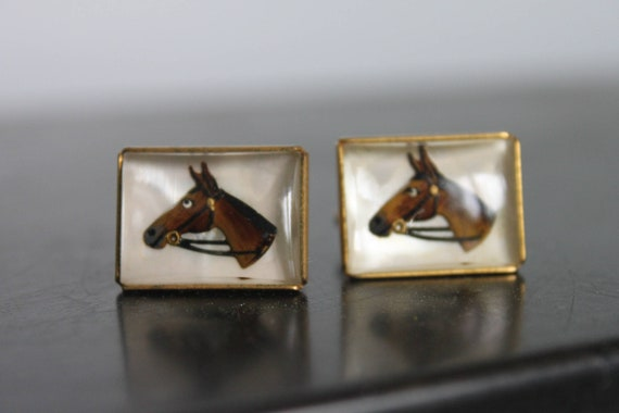 RARE,Antique Equine Cuff links,Glass Dome Horse He