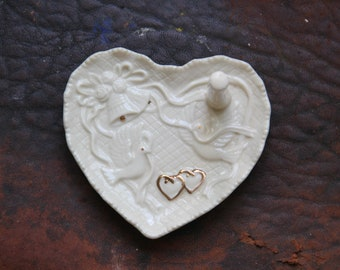 Vintage Ring Tree/White Porcelain and Gold Heart ring holder,Love birds Ring Holder,Hand painted ring dish,vintage Engagement Gift,Baum Bros