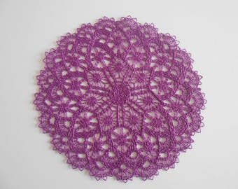 Purple embroidered doily from 15.5 cm in diameter.