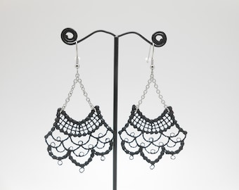 Stainless steel and lace earrings, Christmas gift