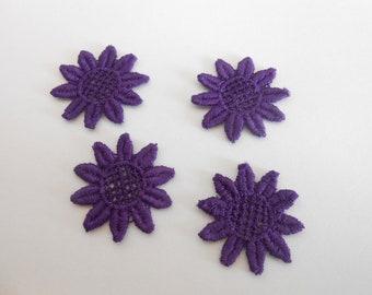 4 flowers in purple cotton 2.6 cm