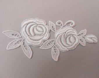 Applique lace white 16 x 7 cm