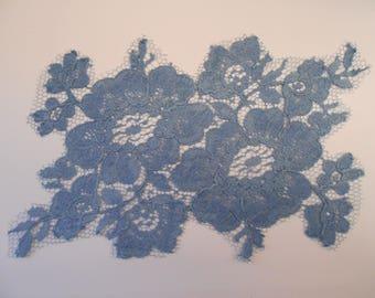 Blue applique French Calais lace