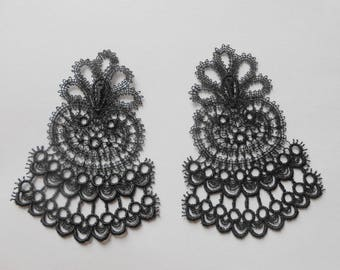 2 patterns in black fine lace of 8 x 5.5 CMS for your creations