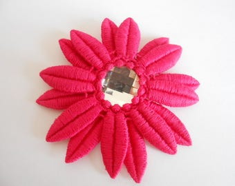 Barrette with flower and Swarovski Crystal cabochon