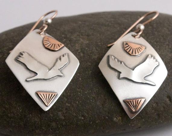 Raven Earrings, Fused Argentium Silver and Copper Earrings, Birds in Flight Series