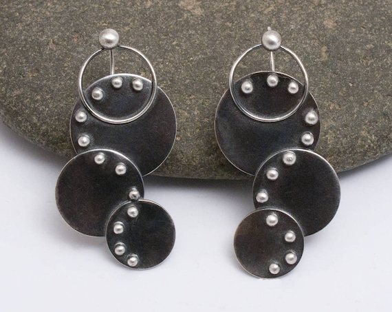 Fused Argentium Silver Earrings, Studded Curved Earrings