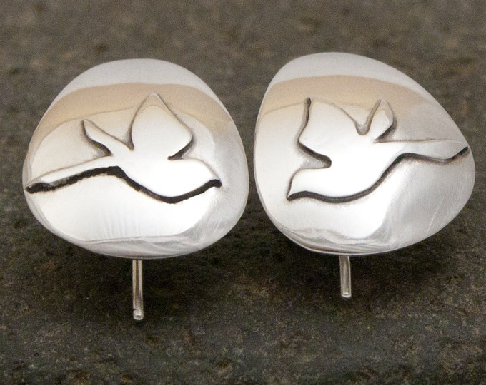 Mountain Bluebirds Earrings - Argentium Silver....Birds in Flight Series