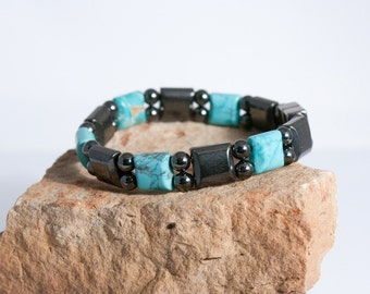 Magnetic Hematite Bracelet with Turquoise Howlite, Arthritis Therapy Bracelet for Men and Women