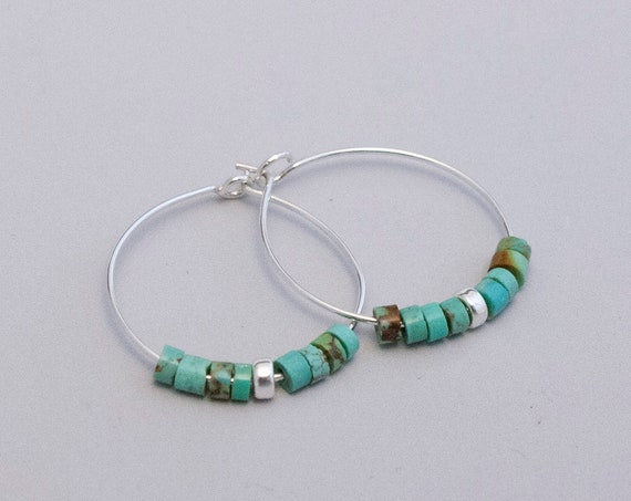 Silver Hoops with green turquoise accent