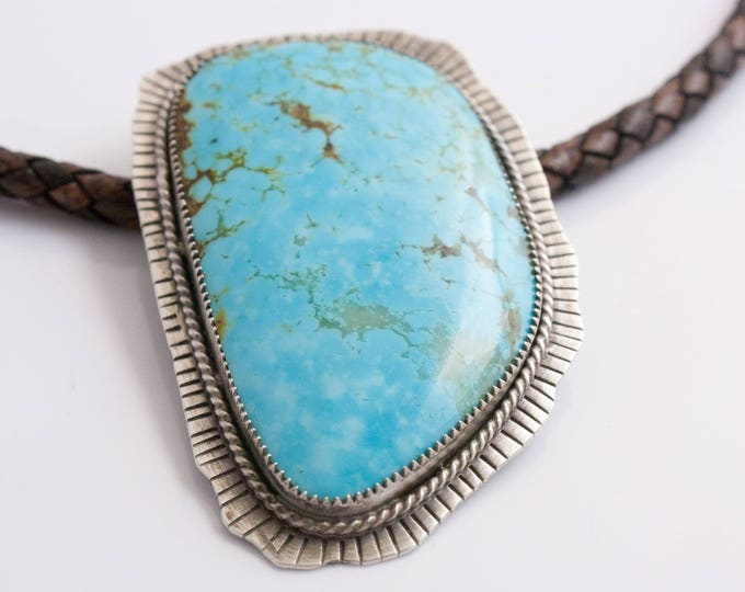 American Turquoise Pendant Necklace, Very Large Turquoise Cabochon from the classic Number 8 Mine, Eureka County Nevada