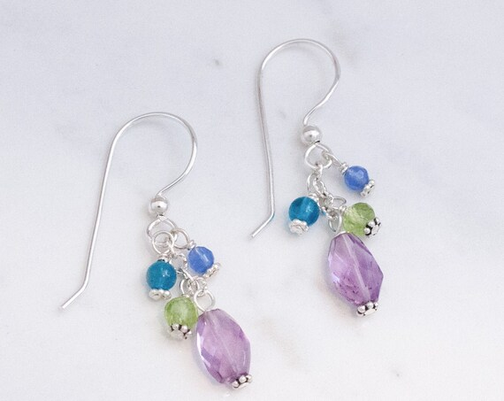 Amethyst and Silver Earrings with Peridot, Apatite, Blue Onyx