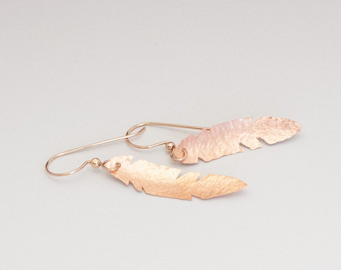 Feather Earrings Hammered Copper