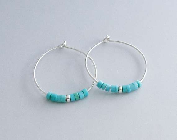 Silver Hoops with Turquoise accent
