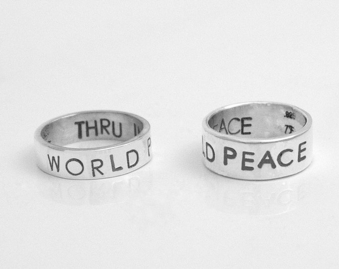 Inner Peace Ring, Sterling Silver Handstamped Ring, World Peace Thru Inner Peace