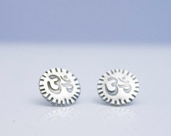 Om Silver Post Earrings
