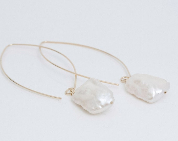 14K Gold Fill and Large Baroque White Pearl Earrings