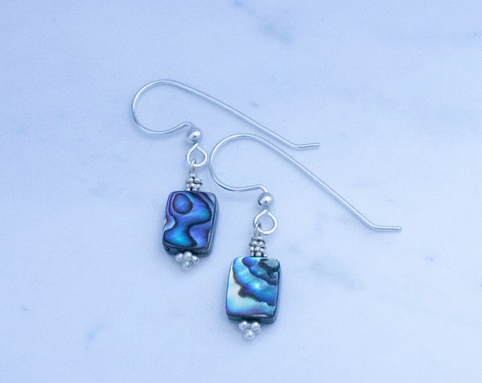 Paua Shell and Silver Earrings