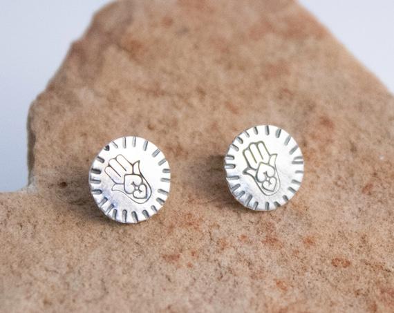 Hamsa Silver Post Earrings