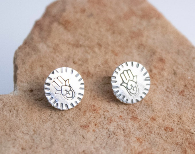 Hamsa Silver Post Earrings