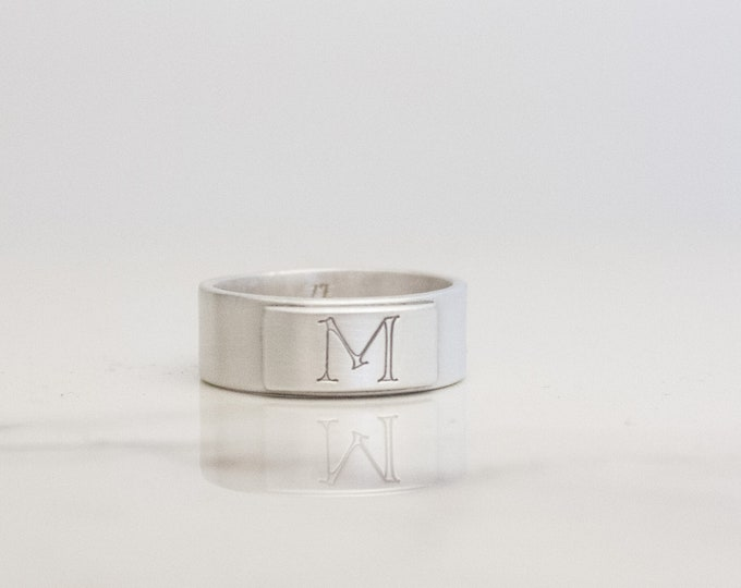 Satin Silver Signet Ring, Men's Sterling Initial Ring