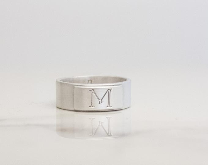 Satin Silver Signet Ring, Men's Sterling Initial Ring