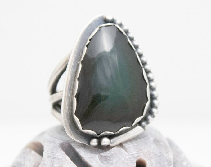 Rainbow Obsidian and Sterling Silver Ring, Bezel Set Rainbow Obsidian Cabochon Ring Size 7.5
