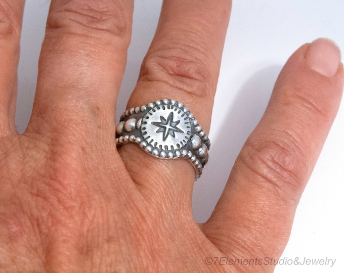Compass Rose Ring, Argentium Silver Travelers Ring, True North Ring