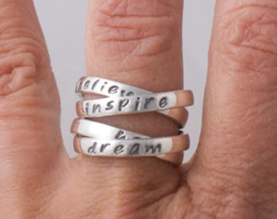 Quad Mother's Rings, Set of 2 Double Interlocking Rings, Four Personalized Contract Rings, Personal Growth Rings
