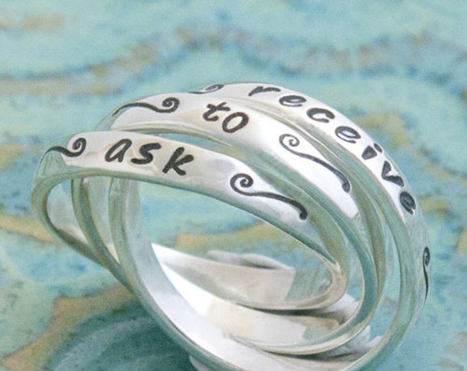 Sterling Silver Contract Ring with Tildes, Mantra Ring with Squiggles, Interlocking Abundance Ring
