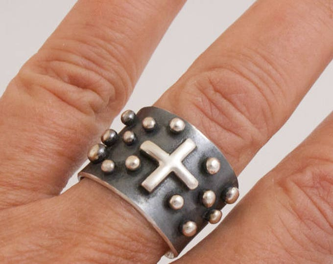 Studded Silver and Black Cross Ring, Wide Silver Ring, Studded Ring