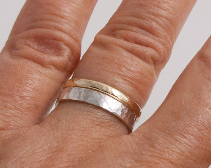 Hammered Gold and Silver Stacking Ring Set
