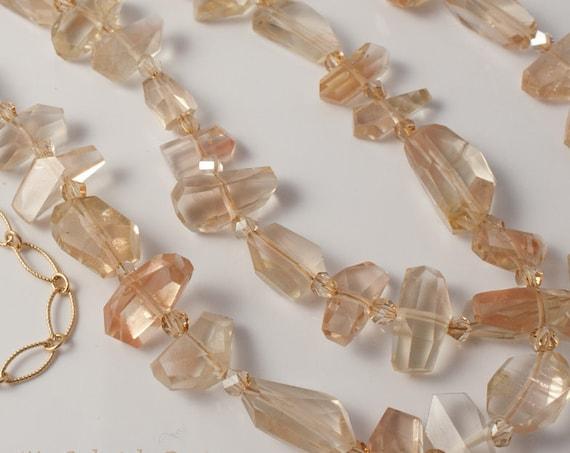 Oregon Sunstone and 14K Gold Fill Necklace, Champagne Color Natural Sunstone Adjustable Necklace, Double Strand Necklace