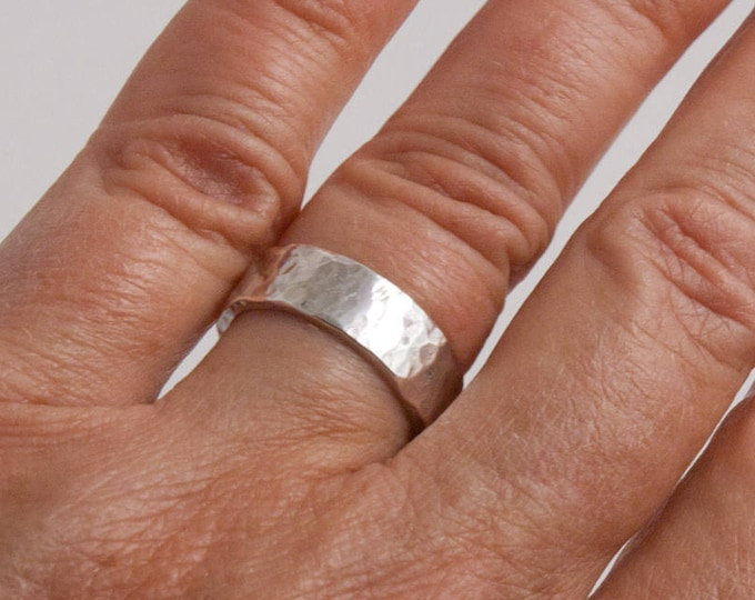 6mm Hammered Sterling Silver Ring