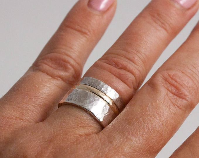 Hammered Silver and Gold Stacking Ring Set