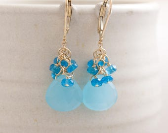 Blue and Gold Earrings, Chalcedony, Appatite and 14K Gold Fill Earrings
