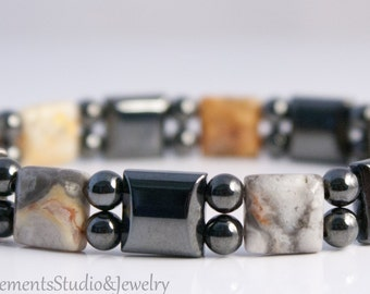 Magnetic Hematite Bracelet with Crazy Lace Agate, Arthritis Therapy Bracelet for Men and Women