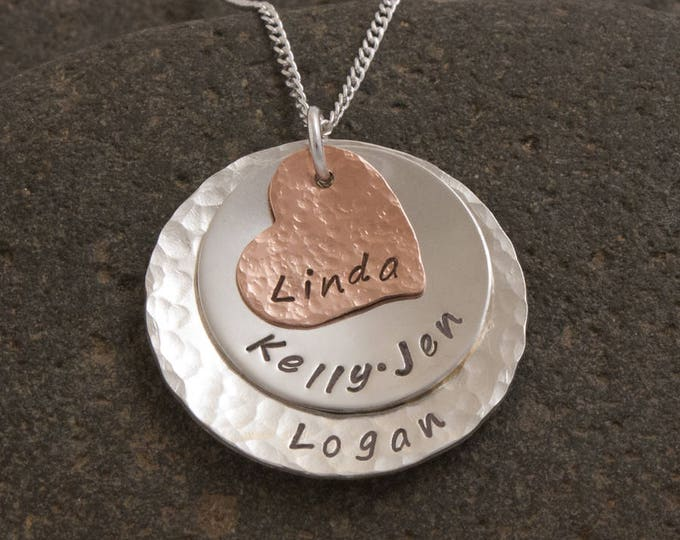 Hammered Copper and Silver Mother's  Necklace, Grandmother's Necklace, Personalized Heart Necklace