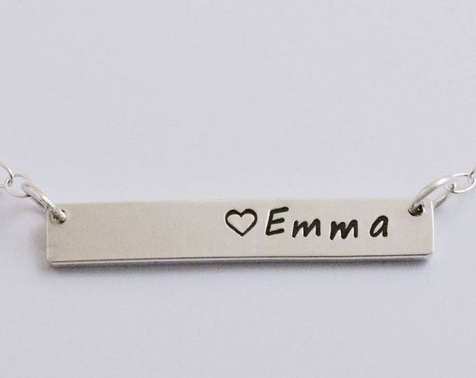 Bar Necklace, Sterling Silver Mother's Necklace, Handstamped Personalized Silver Necklace, Sterling Bar Necklace
