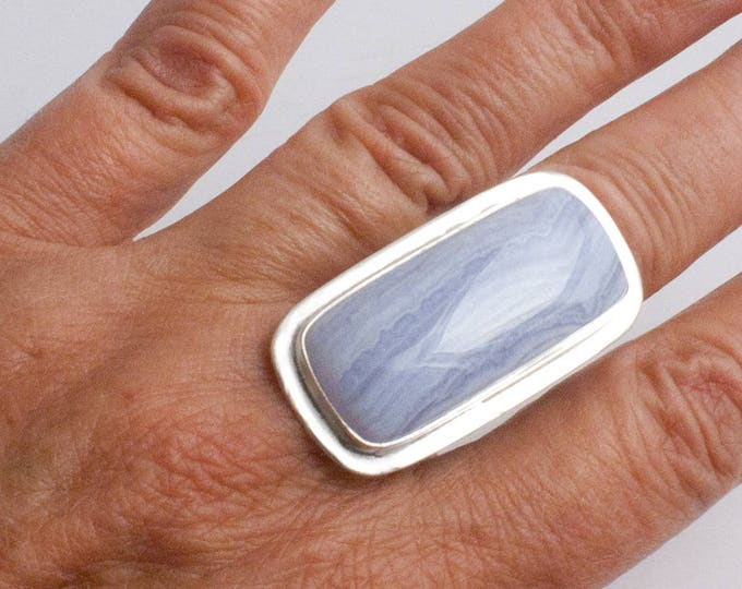Blue Lace Agate and Silver Ring