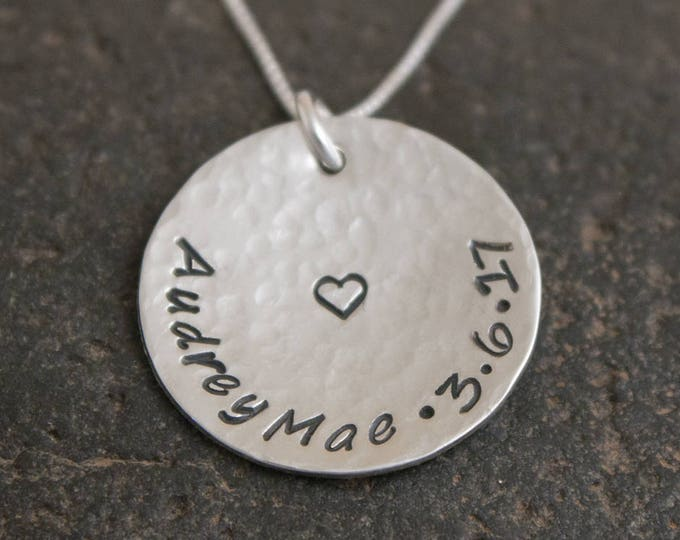 Hand Stamped Sterling Silver Charm or Necklace, Mother's Necklace or Charm