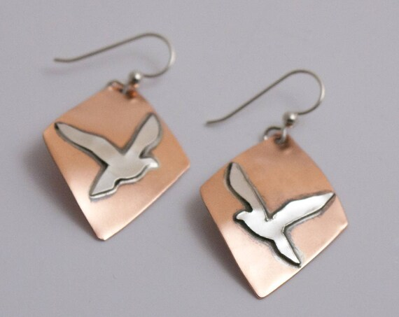 Seagull Earrings No 2, Fused Argentium and Copper Earrings, Birds in Flight Series