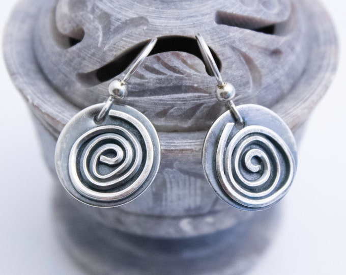 Round Spiral Earrings, Fused Argentium Silver Spiral Earrings
