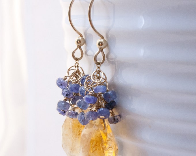 Citrine Sway Earrings with Tanzanite Clusters and 14K Gold Fill Earwires, Handmade Unique Citrine and Tanzanite Earrings